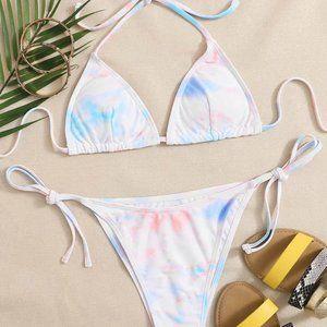 SHEIN Tie Dye Triangle String Bikini